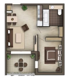 Floor plan rendering by on DeviantArt umriss Apartment Floor Plans, Bedroom Floor Plans, One Bedroom Apartment, Small Apartment Plans, Studio Floor Plans, House Floor Plans, Tiny House Cabin, Small House Plans, Small Floor Plans