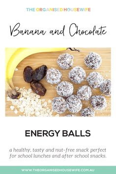 These healthy Banana Chocolate Energy Balls are delicious, soft, and nut-free, making them perfect for school lunches or after school snacks. Healthy Sweets, Healthy Snacks, Healthy Eating, Healthy Recipes, Toddler Meals, Kids Meals, Savory Snacks, Snack Recipes, Nut Free Snacks