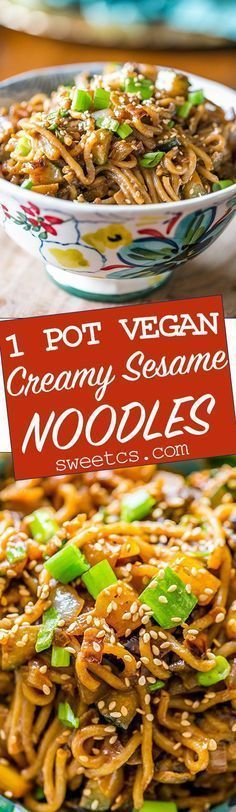 One pot vegan sesame noodles - these creamy quick noodles are full of a rich tahini flavor! #pastafoodrecipes