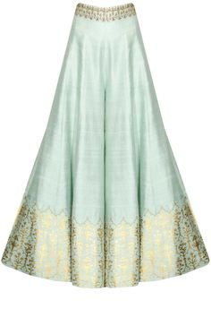 This Sharara set features a mint green anarkali kurta in dupion base with white yellow flowers embroidery on the yoke. The sleeves of this sharara set appliqued Trajes Pakistani, Pakistani Dresses, Indian Dresses, Indian Outfits, Sharara Designs, Kurti Designs Party Wear, Fashion Pants, Fashion Dresses, Sharara Suit