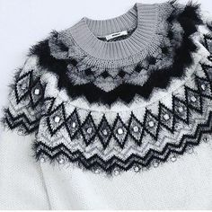 fair isle using furry yarn and sequin embellishment