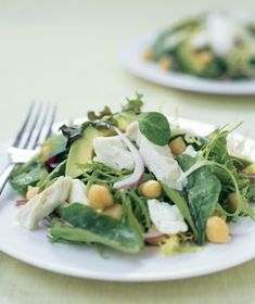 Avocado and Chickpea Salad With Halibut
