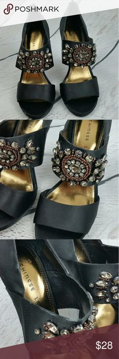 {Chinese Laundry Black Beaded Stilettos} Chinese Laundry black satin high heel peep toe dressy sandals with gray and bronze jewel beading. Zip up back. Good condition, minor fabric smudges as shown in pictures, minor wear on the inside leather, soles in like new condition.   Heel height: 4.5 inches Chinese Laundry Shoes Heels