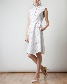 Browns fashion & designer clothes & clothing | VALENTINO | Belted Silk and Floral Macramé Lace Dress