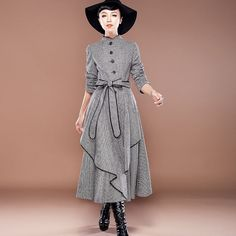 Women's Grid Long Wool Winter Trench Coat Outerwear With Belt Stand Collar on Etsy, £135.15