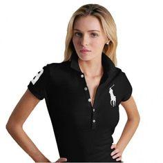 Ralph Lauren Big White Pony Breathable Black Short Sleeved Polo http://www.