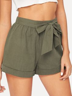 Outfit Ideas Self Belted Elastic Waist Shorts - olive green super comfy perfect for Spring and Summer! dressy yet casual! Ruffle Shorts, Modest Shorts, Women's Shorts, Long Shorts, Jean Shorts, Comfy Shorts, Ripped Shorts, Belted Shorts, Black Shorts
