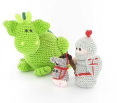 Dibbes the dragon, Sir Roderick and his trusty steed amigurumi crochet pattern by Woolytoons