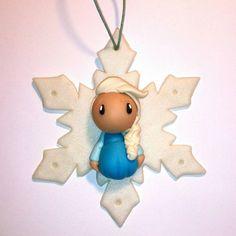 Suspension - Flocon Elsa #frozen #fimo #polymerclay #ornament #littlemandarine #christmas