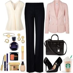 A fashion look from April 2014 featuring white top, long sleeve jacket y navy blue pants. Browse and shop related looks.