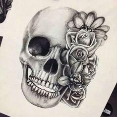 Imagem de skull, flowers, and drawing