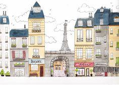 illustration paris street streetscape haussmann buildings houses