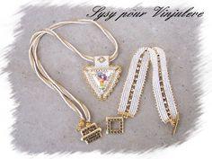 Un Aswan et un petit Herringbone avec toupies !! j'adore ce mélange de couleurs blanc et or !!