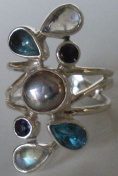 CLASSY! 925 SILVER PEARL MOONSTONE TOPAZ RING in Jewelry & Watches   eBay