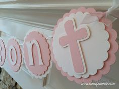 CROSS Baptism BANNER or First Communion Christening Confirmation Name Banner by OnceUponATwineDesign