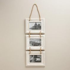 Our exclusive Whitewash Dylan Frames highlight the beauty of your photos with the clean lines of their whitewashed mango wood borders. Strung together with chunky jute rope, this trio of frames lends a rustic appeal to any wall.