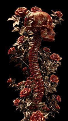 darkly elegant digital skull art by billelis Arte Horror, Horror Art, Site Art, Arte Obscura, Skeleton Art, Macabre Art, Anatomy Art, Skull And Bones, Gothic Art