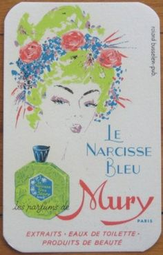 "Early French Perfume Card ""Le Narcisse Bleu"" by Mury Paris France 
