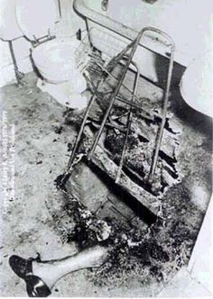 This is one of the most famous photos from an alleged case of spontaneous human combustion. On December 5, 1966, 92-year-old retired doctor John Bentley died from a fire of unknown origin in Coudersport, Pennsylvania. The elderly man walked with the aid of a walking frame, clearly visible in the photo. The fire apparently was confined to a small area of the doctor's bathroom, which burned a hole in the floor. Most of his body was reduced to ash.