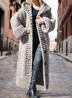 Solid Chunky knit Hooded Casual Long Cardigan (1002322445) - Sweaters - #322445 vencano Hooded Cardigan, Long Cardigan, Long Sleeve Sweater, Hooded Cloak, Long Sweaters For Women, Casual Sweaters, Cardigans, Sweater Coats, Mohair Sweater