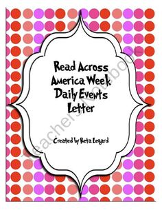 Read Across America Week Daily Events Letter from Second Grade Superstars on TeachersNotebook.com (2 pages)