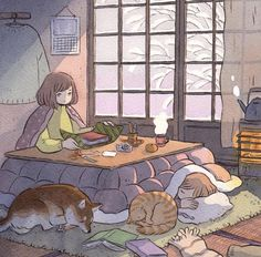 Print of the ink illustration 'Cozy'. Pretty Art, Cute Art, Aesthetic Art, Aesthetic Anime, Aesthetic Drawing, Arte Copic, Character Art, Character Design, Cute Illustration