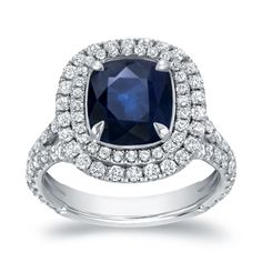 Auriya 18k White Gold 3ct Sapphire and 1 1/5ct TDW Double Halo Diamond Ring
