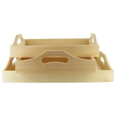 Unfinished Wood Tray Set- $12.47 at Hobby Lobby. A blank canvas to turn into the perfect gift!
