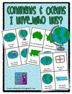 Continents and oceans i have who has game ocean social studies continents and oceans i have who has game gumiabroncs Choice Image