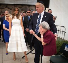 Yep! This is (after 8 yrs) OUR U.S.President....He is Meeting a Holocaust Survivor!!!! #Making America Great Again-showing Honor & Compasion as a Commander should!!