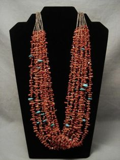 Museum Vintage Santo Domingo Coral and Teardrop Turquoise Necklace Old | eBay