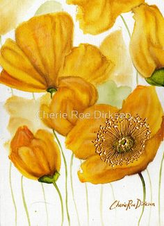 Yellow Poppies  by Cherie Roe Dirksen --- Available as iPhone Cases, Samsung Galaxy Cases, Posters, Home Decors, Tote Bags, Pouches, Prints, Cards, Leggings, Pencil Skirts, Scarves, iPad Cases, Laptop Skins, Drawstring Bags, Laptop Sleeves, and Stationeries