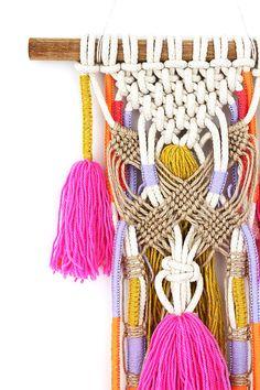 WEA wall hanging unique boho macrame knots on natural sash & Macrame Art, Macrame Projects, Macrame Knots, Macrame Jewelry, Art Macramé, Bohemian Wall Tapestry, Macrame Hanging Planter, Macrame Patterns, Tapestry Weaving