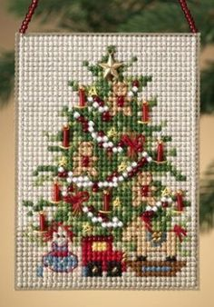 Mill Hill Old Fashioned Tree - Beaded Cross Stitch Kit. Kit includes: Beads, treasures, perforated paper, floss, needles, chart and instructions. Finished size:
