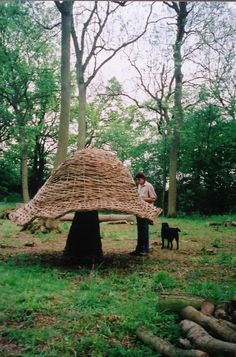 Tom Hare Willow man — My first fungi , a younger Tom, and my old dog...