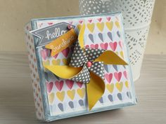 How To Make A Pinwheel Gift Box #CraftAsylum #Papercraft #GiftBox Scrapbook Box, Scrapbooking, Box Maker, Envelope Punch Board, Pretty Box, Handmade Decorations, Asylum, Pinwheels, Hobbies And Crafts