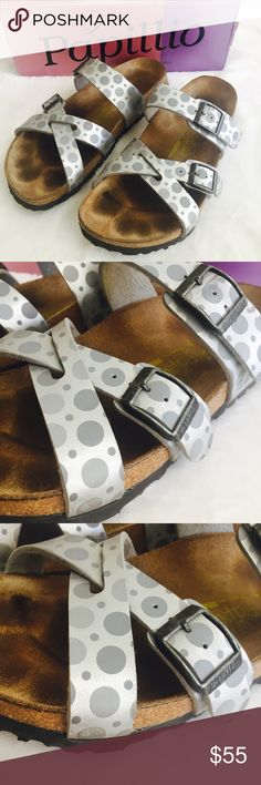 Birkenstock papilloma Nepal in doties silver Well loved but still plenty of life just the insole shows wear. These are the doties silver Nepal style Birkenstock papillo. Size 38 Birkenstock Shoes Sandals