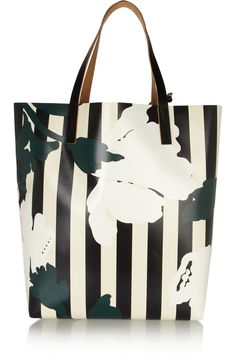 Print floral and stripe - Marni | Printed vinyl and leather shopper | NET-A-PORTER.COM