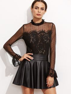 Long Sleeve Blouses. Top Decorated with Sheer. Designed with Collar. Regular fit. Perfect choice for Sexy wear. Plain design. Trend of Spring-2018, Summer-2018, Fall-2018. Designed in Black. Fabric has some stretch.