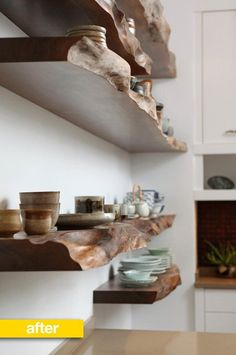 """Love these shelves! These raw edge wood shelves were constructed from a gorgeous and very old piece of wood."