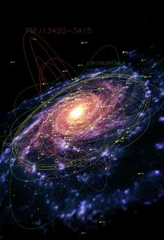Milky Way Galaxy Map | cozydark a map of our galaxy the milky way showing pulsars red ...