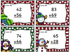 2 Digit Addition with and without Regrouping Task Cards - FREEBIE!  Download it and give it a try!