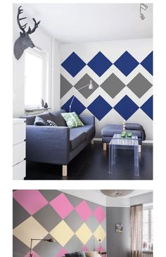 Wall Stickers Home Decor Creative Wall Painting, Creative Wall Decor, Room Wall Painting, Room Paint Designs, Bedroom Wall Designs, Bedroom Decor, Geometric Wall Paint, Interior Walls, Interior Design