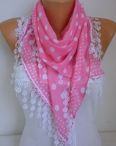 Pink White Scarf - not just for spring and summer - cute for any time of year - I like this too. You sell cute stuff ...