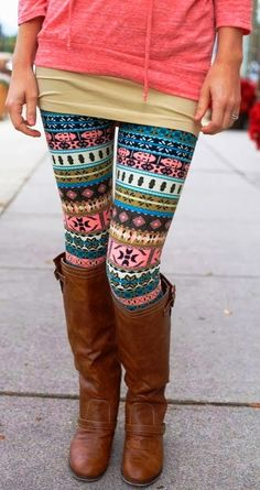 Fashion for Fall, Cute, Colorful Patterned Tights with Long, Brown Boots