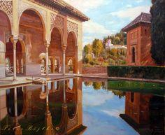 PINTURA PÉTER BOJTHE Alhambra Spain, Islamic Architecture, Spanish Colonial, Arabian Nights, Andalusia, Islamic Art, Design Art, Landscape, Mesoamerican