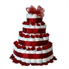 Tarta de pañales pétalos rojos, un regalo original y muy práctico.