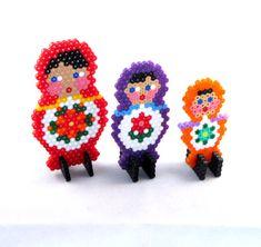 Matryoshka style decorative dolls made from hama beads by VlinderShop