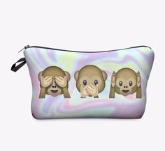 Cute Monkey Emoji Makeup Bag is the perfect size to organize your purse or backpack. Soft Poly Material Zipper Close Eight Inches Long Five Inches Tall We Carry