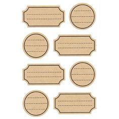 Etiketter i kraftpapper, 4 ark Make & Create